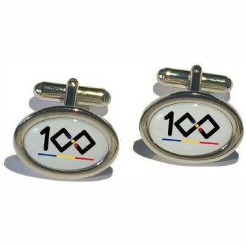 Cufflink Pair Oval 18x13mm  silver ready to wear, boxed